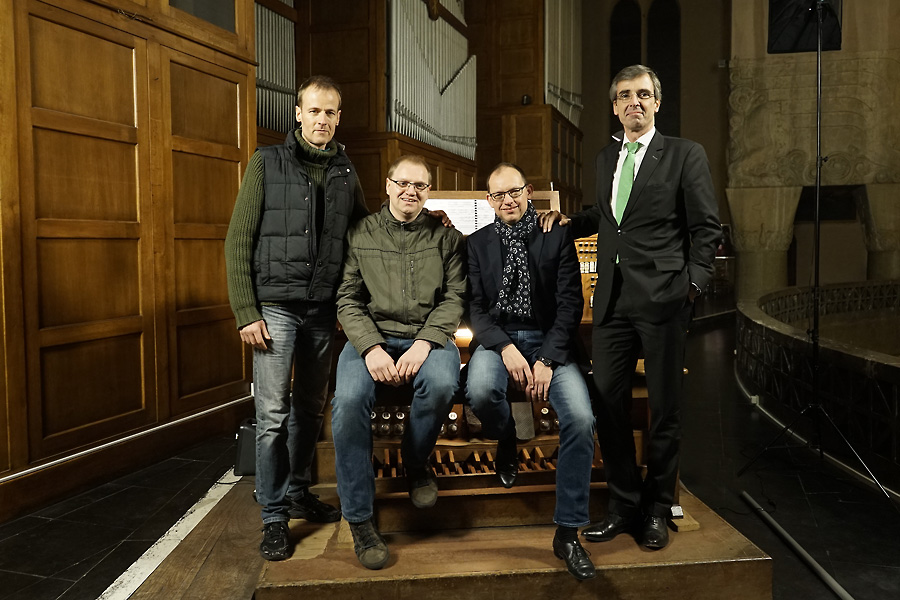 Aeolus' producer Christoph Martin Frommen, Geert Huylebroeck, Peter Van de Velde and Jan Noordzij after the recording session